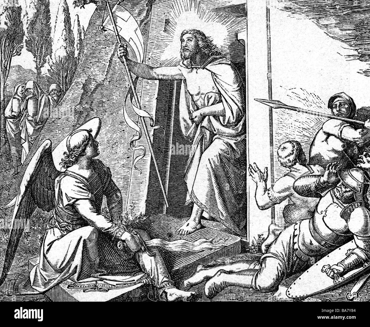 Jesus Christ, circa 4 BC - circa 33 BC, half length, resurrection, wood engraving after painting by Friedrich Overbeck - Stock Image