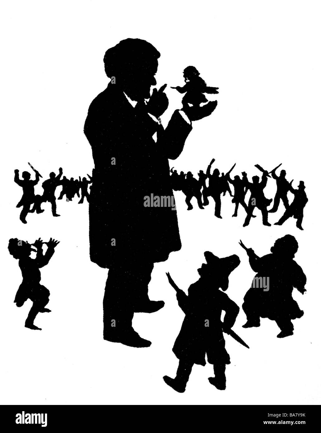 Wagner, Richard, 22.5.1813 - 13.2.1883, German composer, full length, silhouette, by Dr. Otto Boehler: 'Wagner - Stock Image