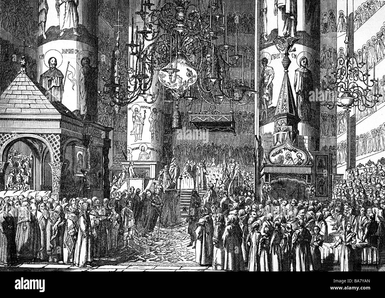 """Catherine II """"the Great"""", 2.5.1729 - 17.11.1796, Empress of Russia 1762 - 1796, coronation in the Dormition Cathedral, Stock Photo"""