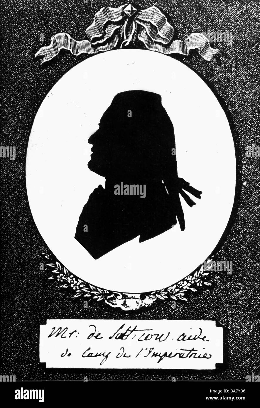 Saltykov, Sergei Vassilievich, 1726 - 1769, Russian courtier, portrait, silhouette, 18th century, , Additional-Rights - Stock Image
