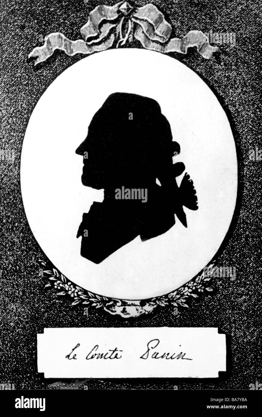 Panin, Nikita Ivanovich, 26.9.1718 - 20.3.1783, Russian politician, Foreign Minister 1763 - 1783, portrait, silhouette, - Stock Image