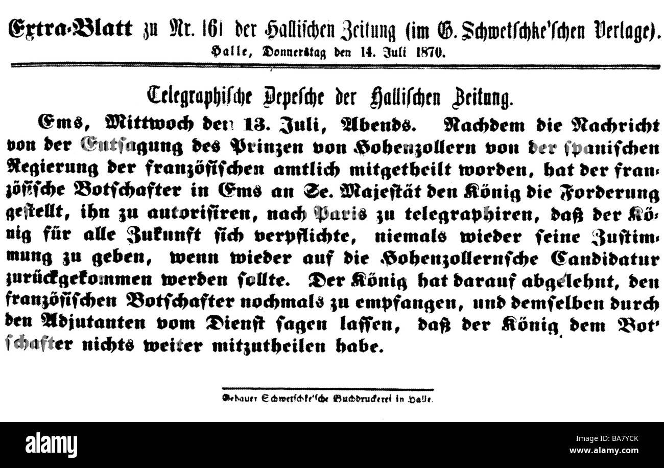 """events, Franco-Prussian War 1870 - 1871, Ems Dispatch, shortened version, """"Hallische Zeitung"""", 13.7.1870, , Stock Photo"""