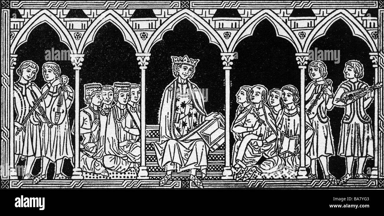 Alfonso X of Castile, 26.11.1221 - 4.4.1284, King of Castile,  Leon and Galicia from 1252, drawing, 19th century, - Stock Image