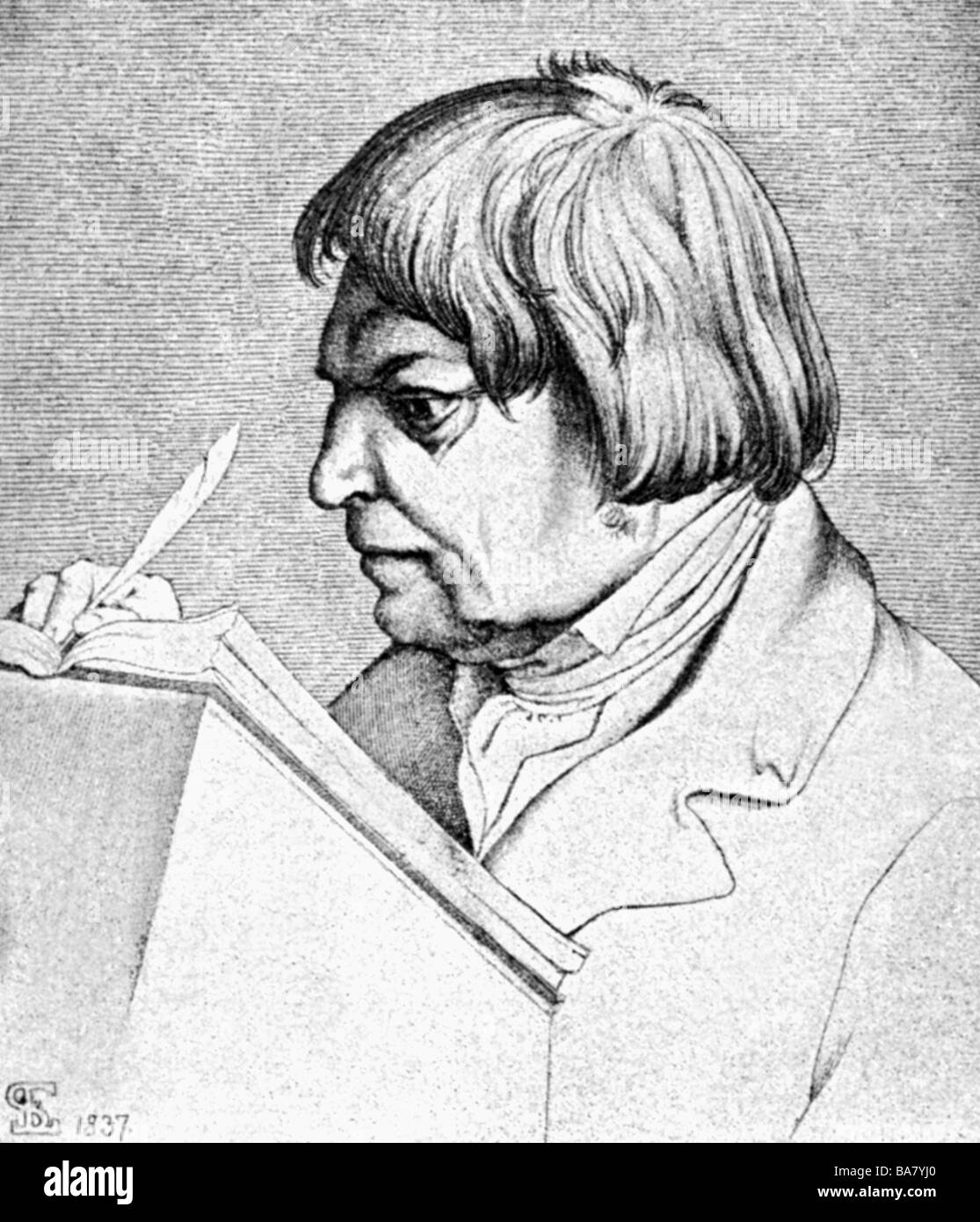 Görres, Johann Joseph von, 25.1.1776 - 29.1.1848, German author / writer, portrait, wood engraving after drawing - Stock Image