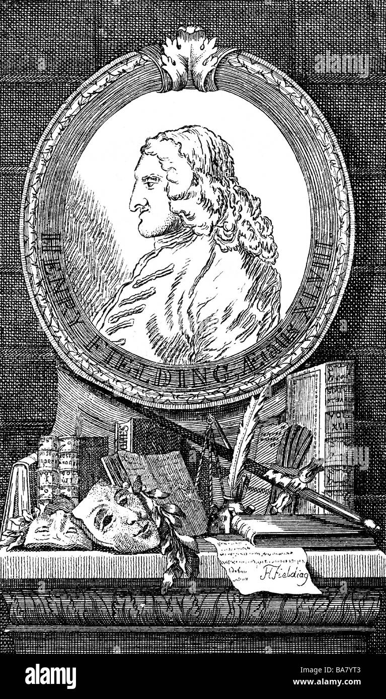 Fielding, Henry, 22.4.1707 - 8.10.1754, English author / writer, portrait, side view, with frame, engraving after - Stock Image