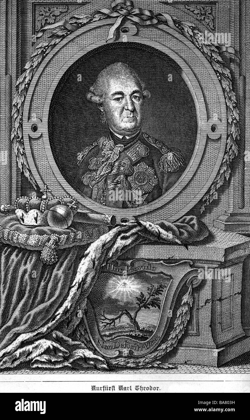 Charles Theodore, 11.12.1724 - 16.2.1799, Elector of Bavaria 1777 - 1799, portrait, with allegorical border, copper - Stock Image
