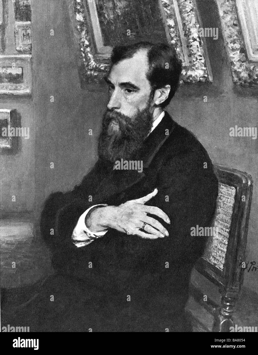 Tretyakov, Pavel Mikhailovich, 27.12.1832 - 16.12.1898, Russian art collector, half length, print after painting - Stock Image