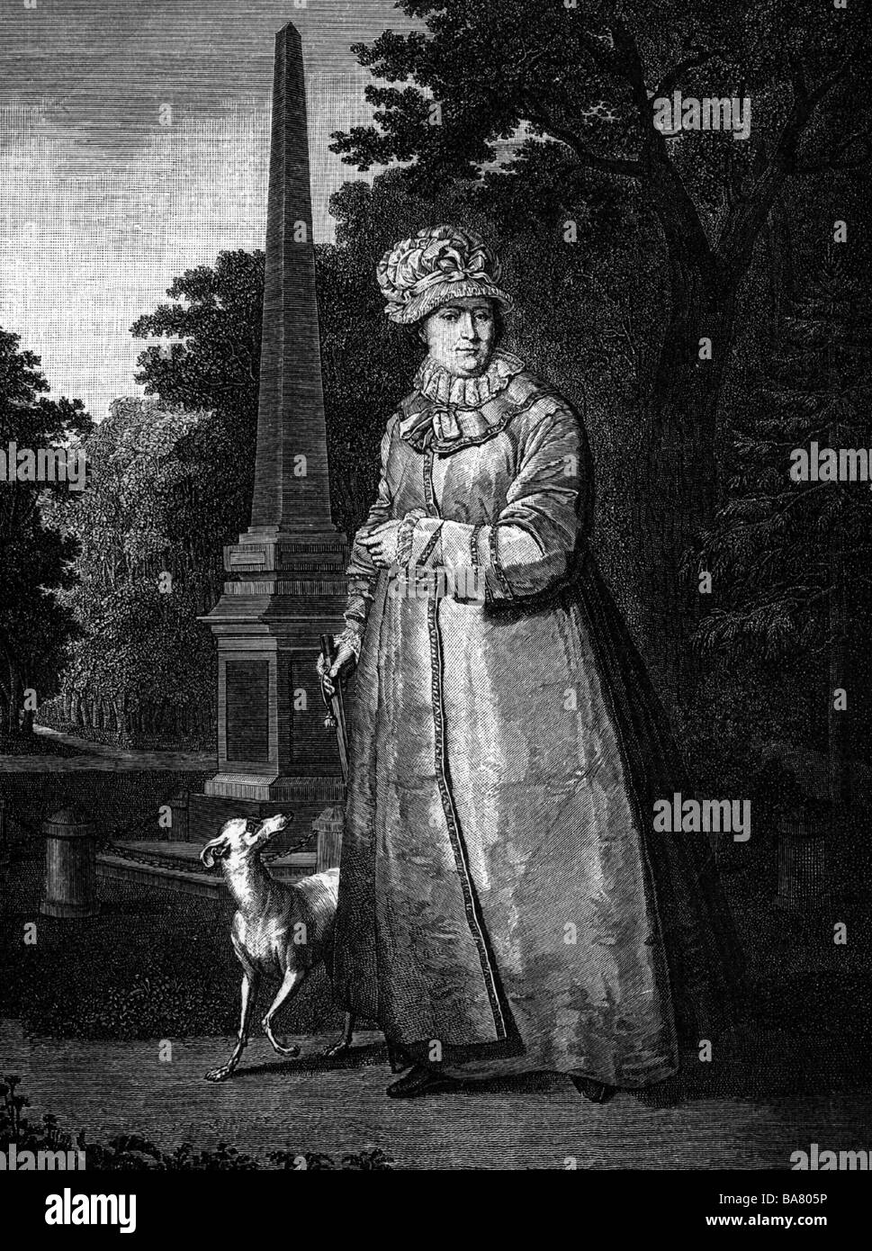 "Catherine II ""the Great"", 2.5.1729 - 17.11.1796, Empress of Russia 1762 - 1796, full length, with dog in the park, Stock Photo"