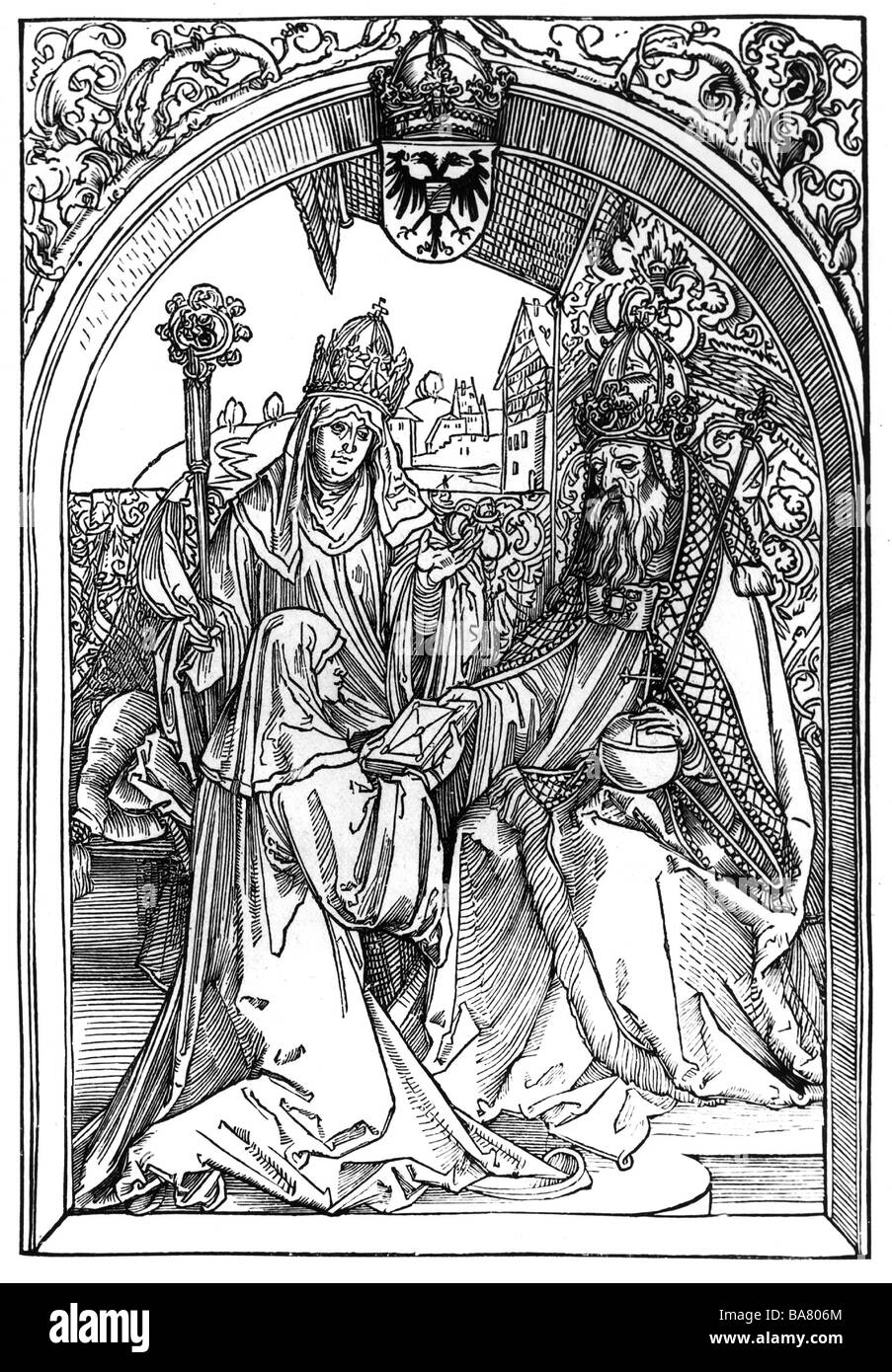 Hrosvit of Gandersheim, circa 935 - past 973, German author / writer, offering her work to Emperor Otto I and Archbishop - Stock Image