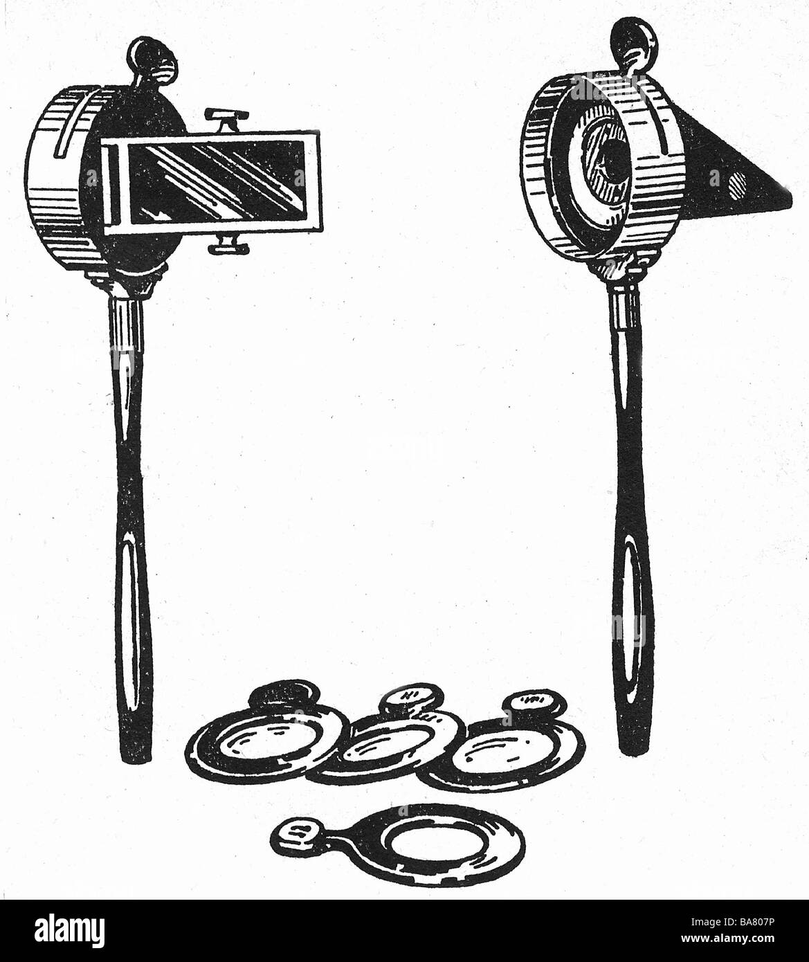 Helmholtz, Hermann von, 31.8.1821 - 8.9.1894, German scientist (medic and natural scientist), two eye mirrors with - Stock Image