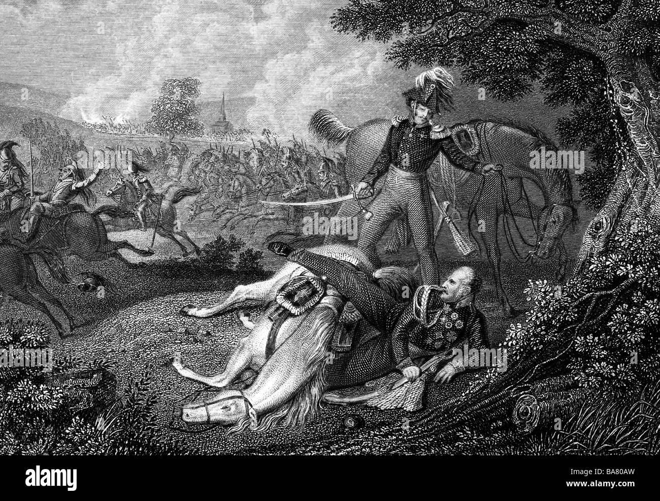 Blücher, Gebhard Leberecht von, 16.12.1742 -  12.9.1819, Prussian general, full length, dropped in battle near - Stock Image