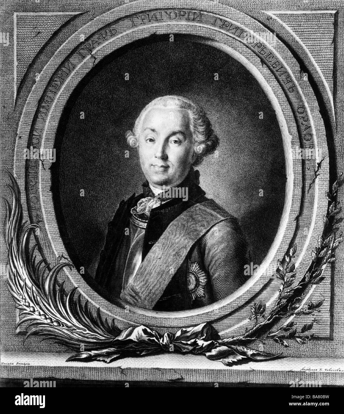 Orlov, Grigory Grigoryevich, 17.10.1734 - 24.4.1783, Russian general, portrait, copper engraving, 18th century, - Stock Image