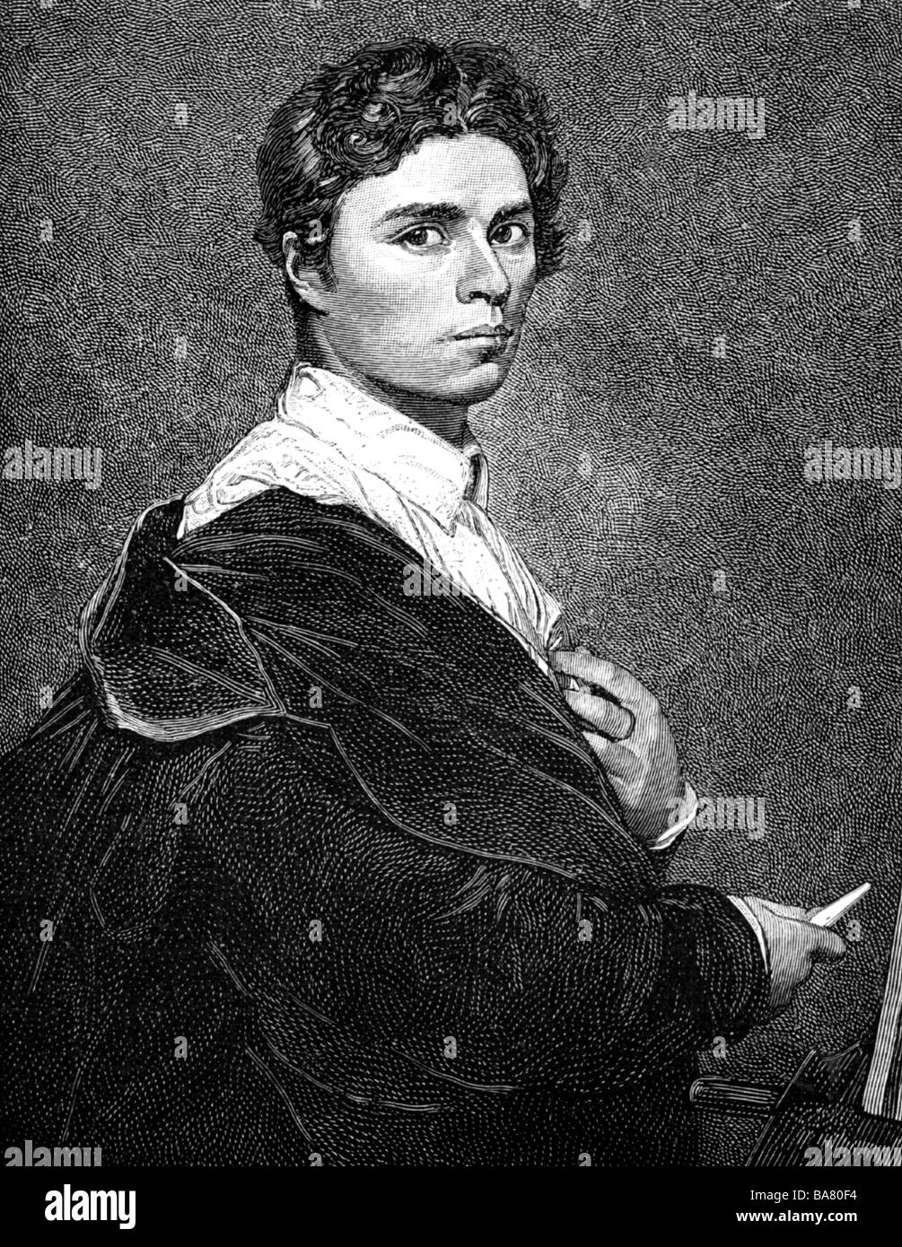 Ingres, Jean Auguste, 29.8.1780 - 31.1.1867, French painter, half length, self-half length, wood engraving, after - Stock Image