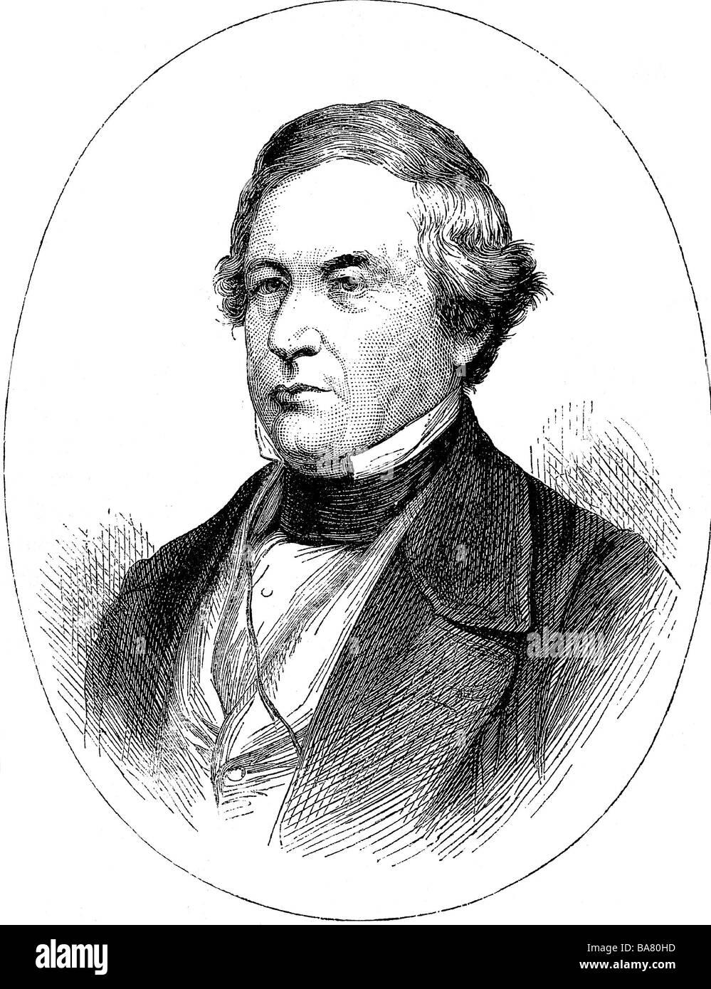 Fillmore, Millard, 7.1.1800 - 8.3.1874, American politician (Whig), 13th US President 1850 - 1853, portrait, wood Stock Photo