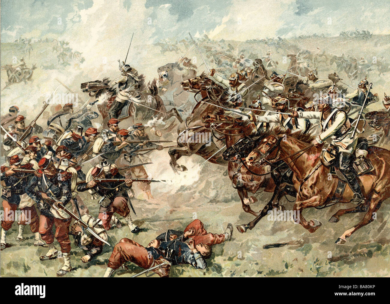 events, Franco-Prussian War 1870 - 1871, Battle of Mars-la-Tour, 16.8.1870, charge of Bredow's Brigade, colour - Stock Image