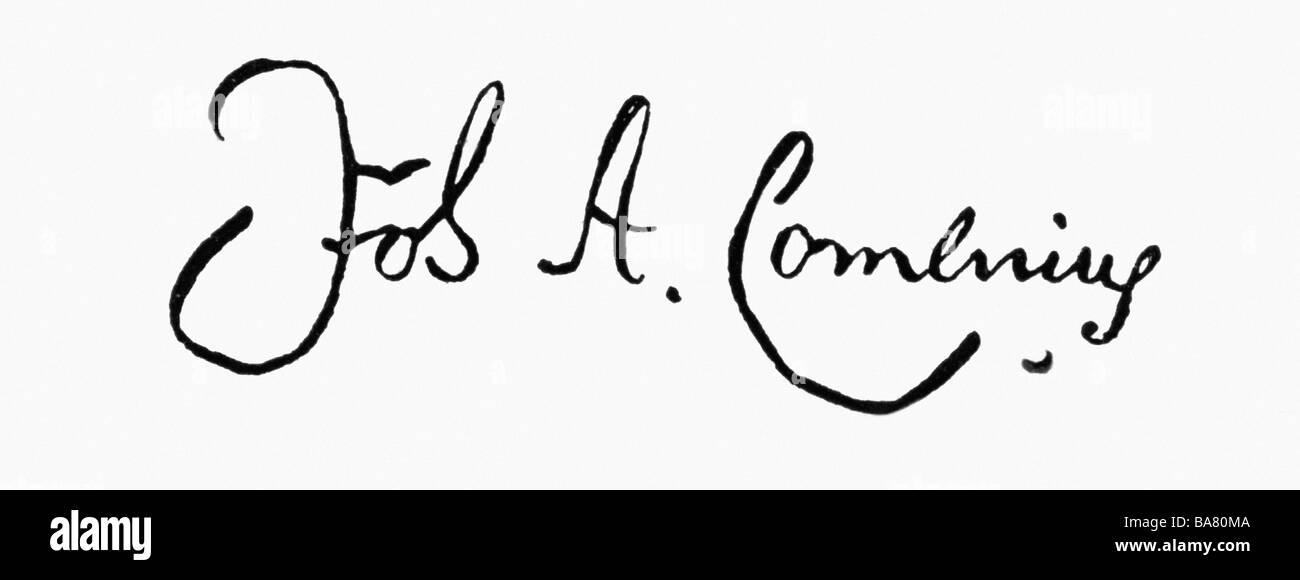 Comenius, Johann Amos, 28.3.1592 - 15.11.1670, Czech scientist (theologian and educator), his signature, Additional - Stock Image