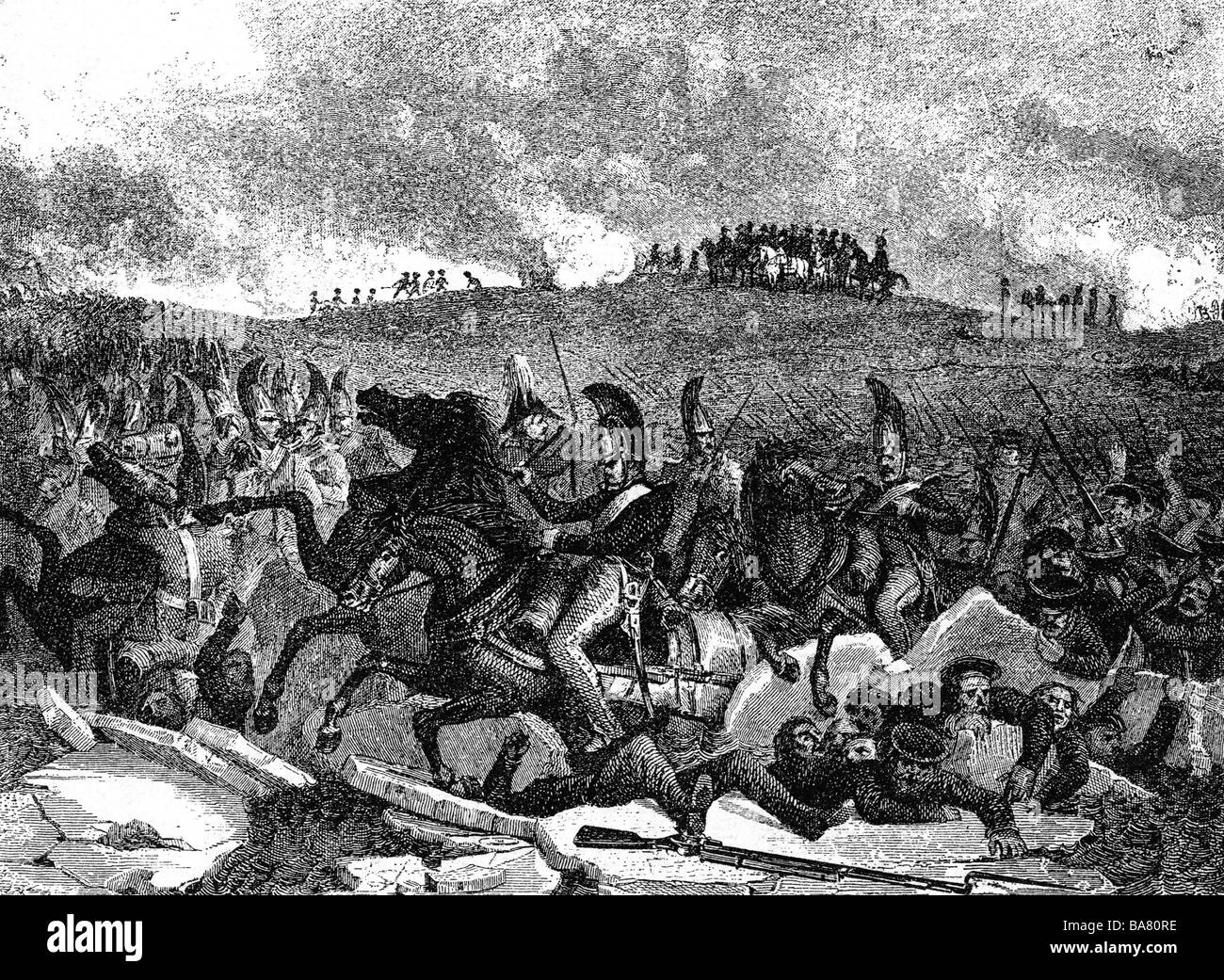 events, War of the Third Coalition 1805, Battle of Austerlitz, 2.12.1805, fleeing Russians, after contemporary copper - Stock Image