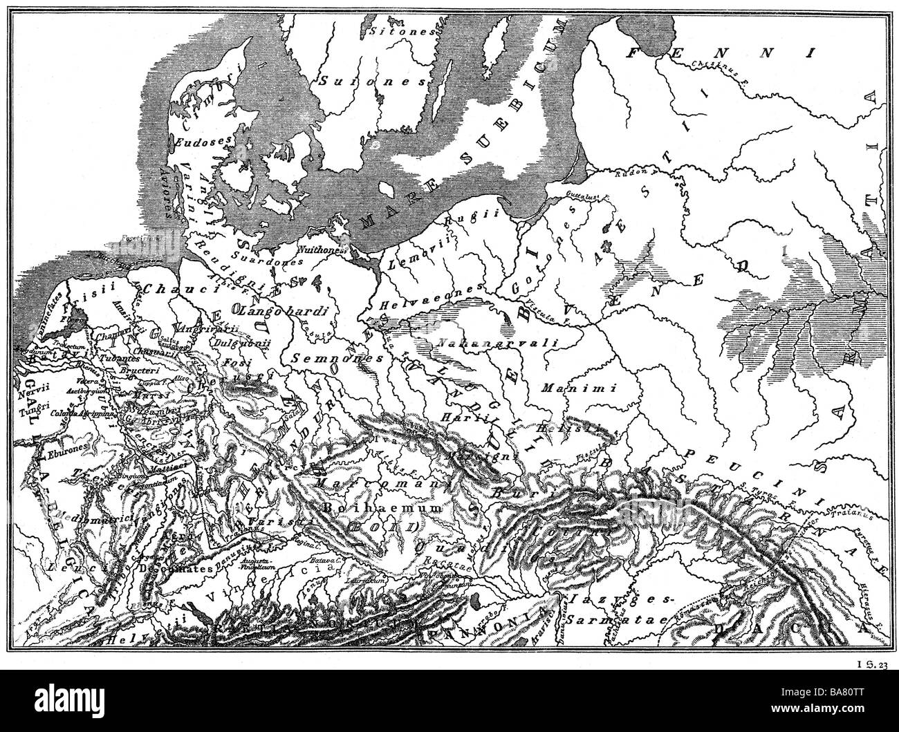 cartography, historical maps, ancient world, Germania at the time Tacitus, late 1st century, 'Atlas antiquus' - Stock Image