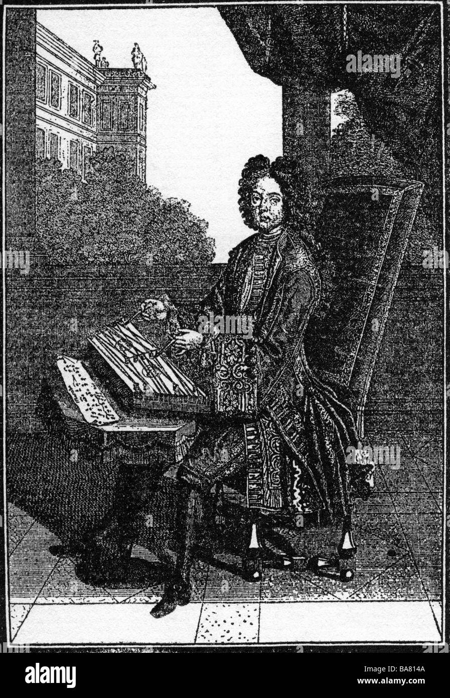 fashion, 17th century, France, mens fashion, nobleman playing Tympanum, copper engraving, circa 1680, Additional - Stock Image