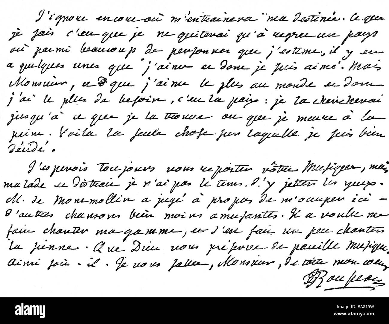 Rousseau, Jean-Jacques, 28.6.1712 - 2.7.1778, French author / writer, philosopher, autograph, excerpt of a letter, - Stock Image