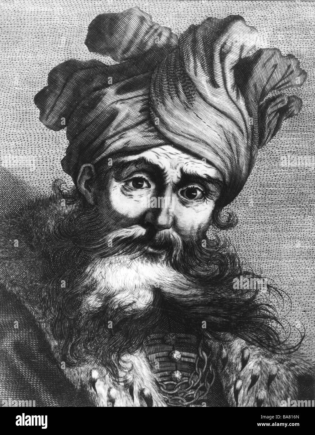 Saladin (Salah ad-din Yussuf Ibn Ayyub), 1137 / 1138 - 4.3.1193, Sultan of Egypt, portrait, wood engraving, Additional - Stock Image