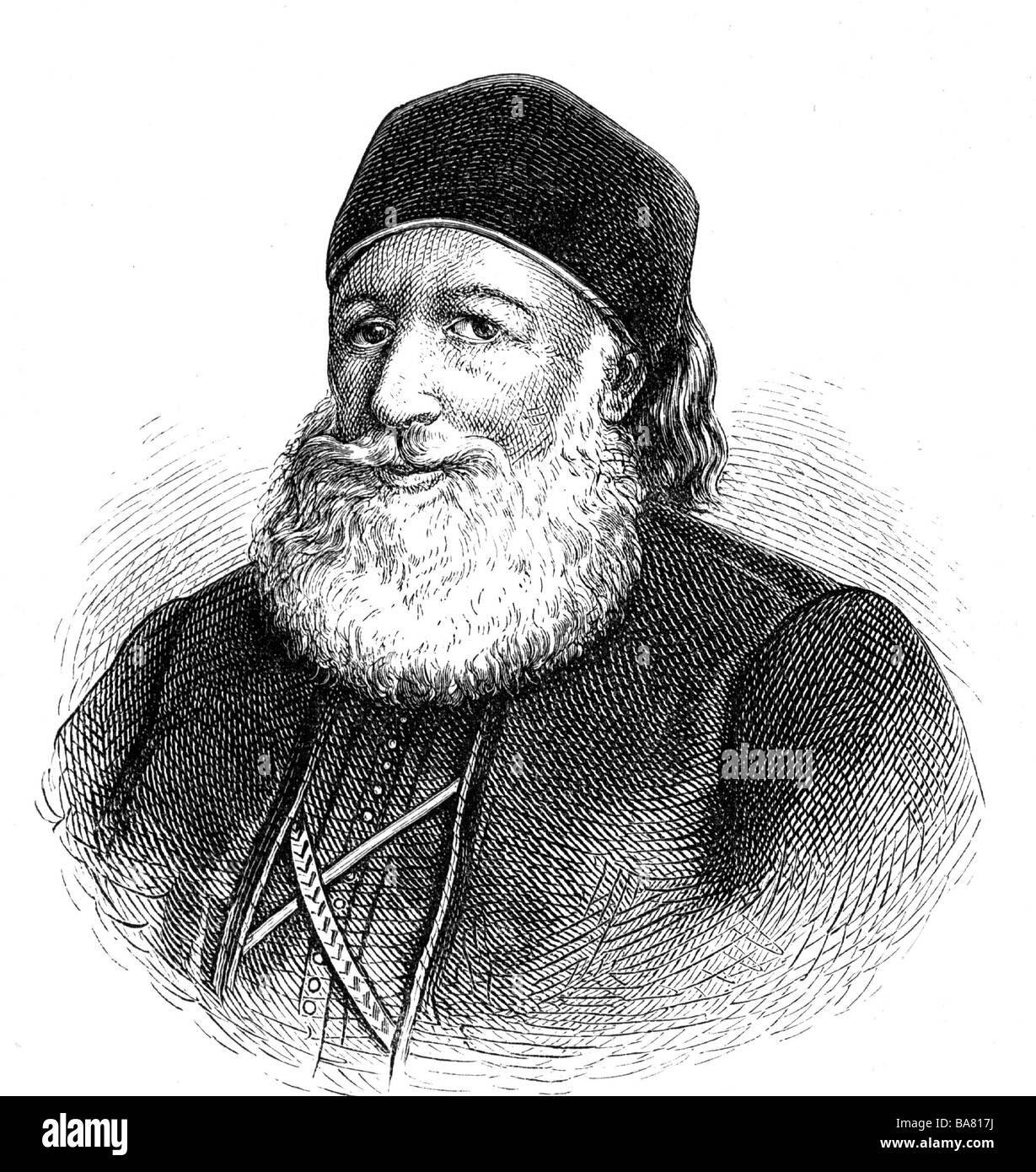 Muhammad Ali, 1769 - 12.8.1849, Khedive of Egypt 13.2.1841 - 12.8.1849, portrait, wood engraving, 19th century, - Stock Image