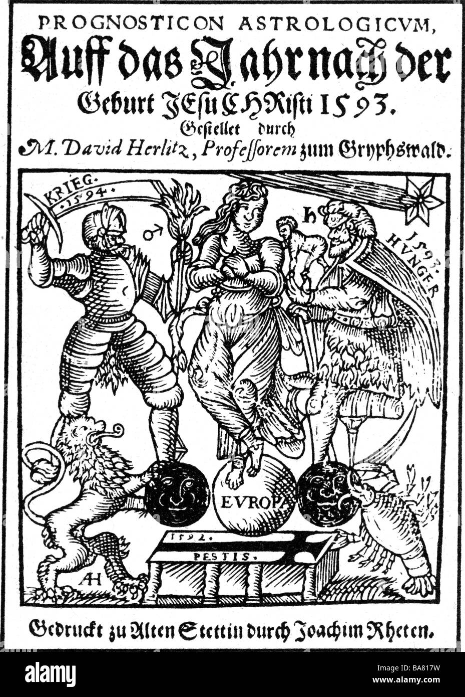 Herlitz, David, 28.12.1557 - 15.8.1636, German mathematician and physician, works, horoscope for the year 1593, - Stock Image