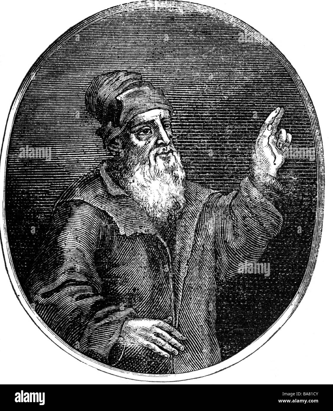 Schedel, Hartmann, 13.2.1440 - 28.11.1514, German physician, humanist, historian, half length, oval, wood engraving, - Stock Image