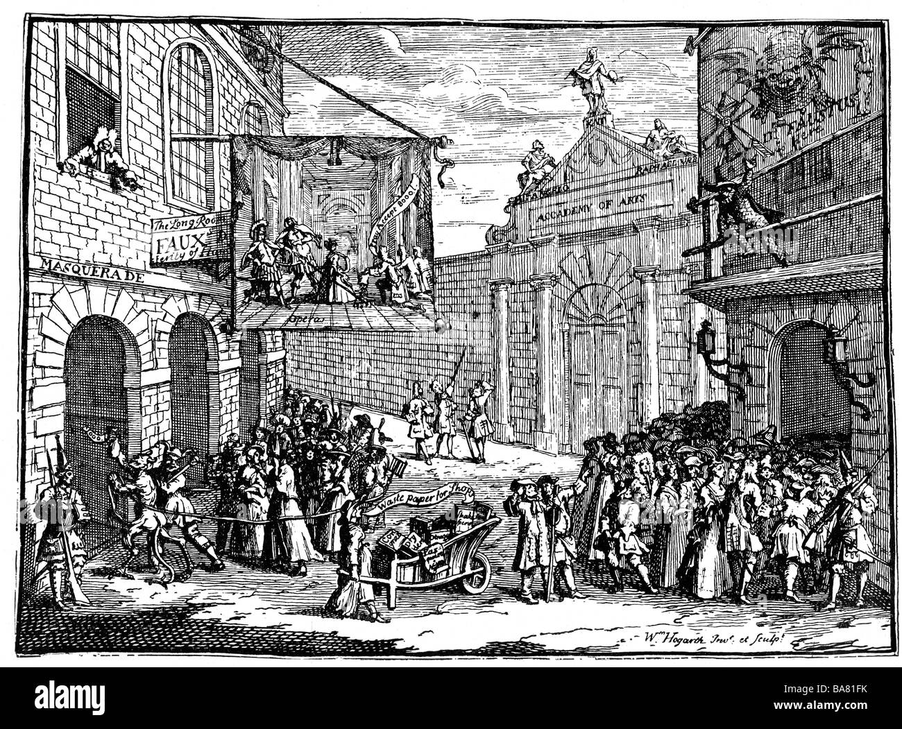 theatre, opera, caricature, 'Masquerades and Operas', copper engraving by William Hogarth, 1723, , Artist's - Stock Image