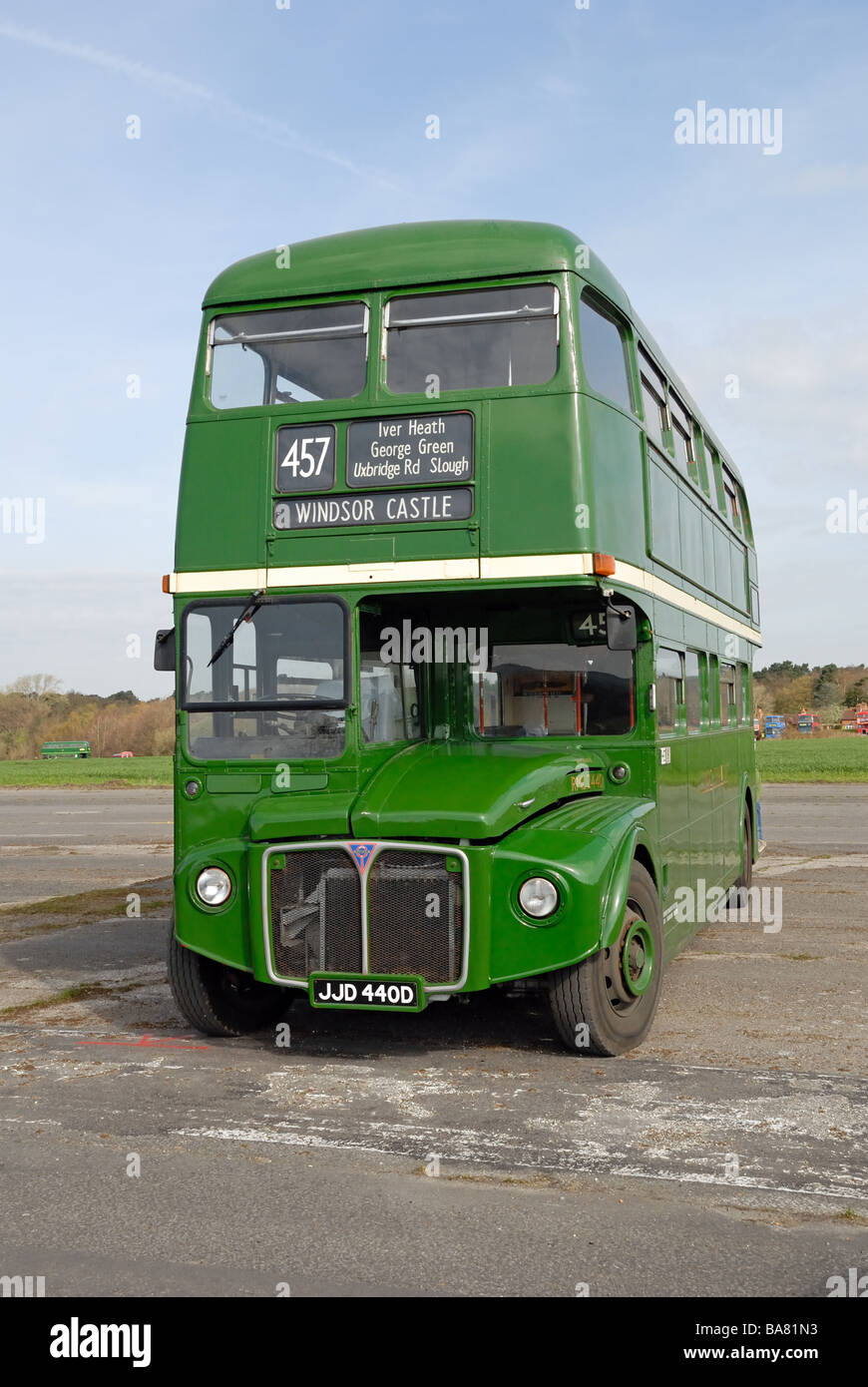 Three quarters front view of JJD 440D 1966 AEC Routemaster R2R London Transport RML 2440 at the Cobham Bus Museum - Stock Image