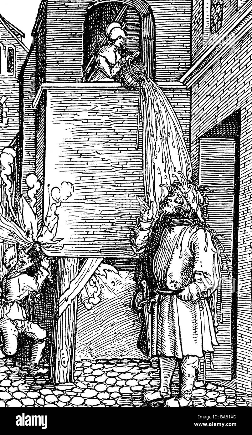 medicine, hygienics, dirt, man is dashed with dirty water, woodcut by Hans Weiditz, Germany, 1520, Additional-Rights - Stock Image