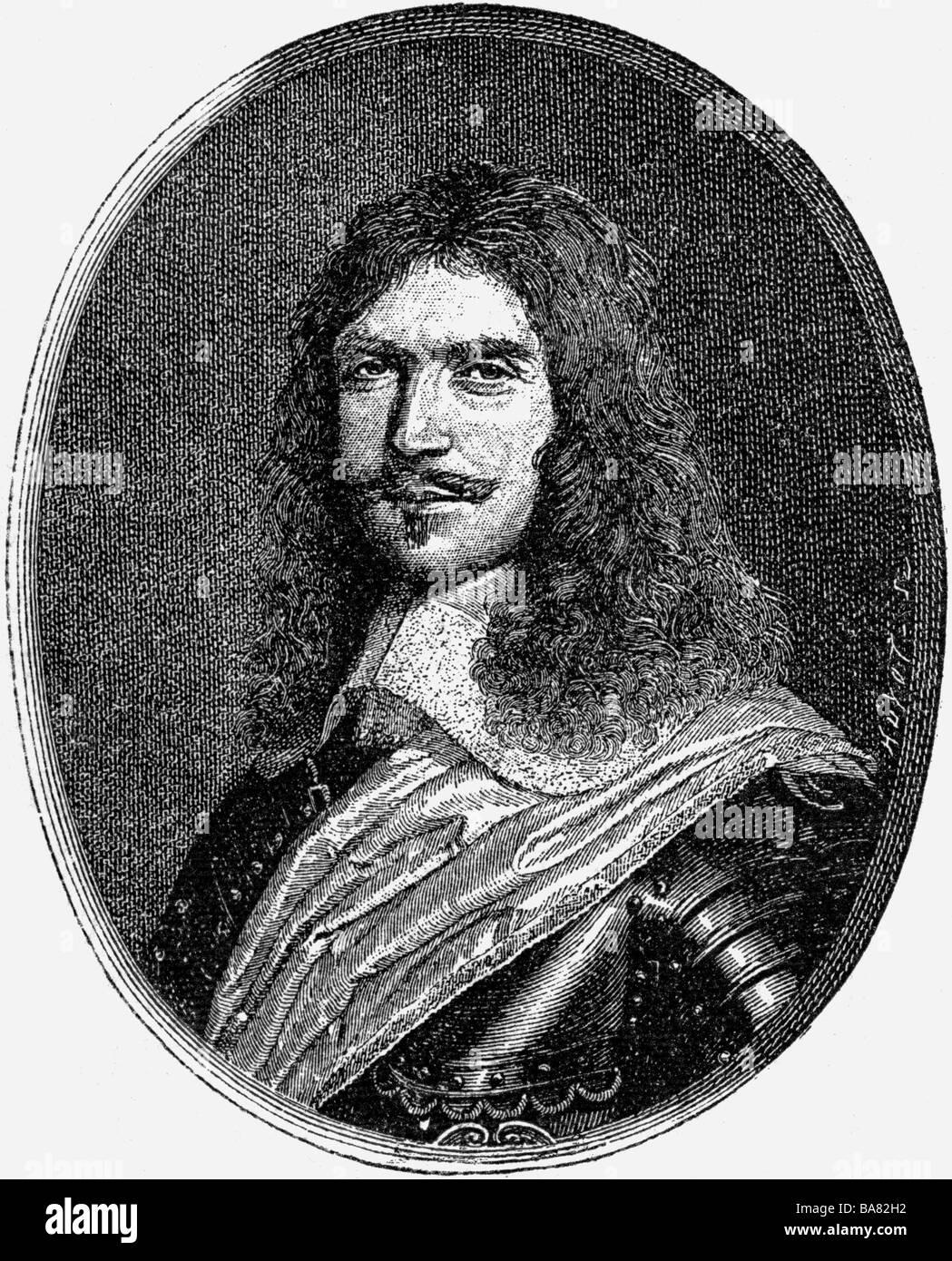 Turenne, Henri de Tour d' Auvergne Vicomte de, 11.9.1611 - 27.7.1679, French general, portrait, wood engraving, - Stock Image