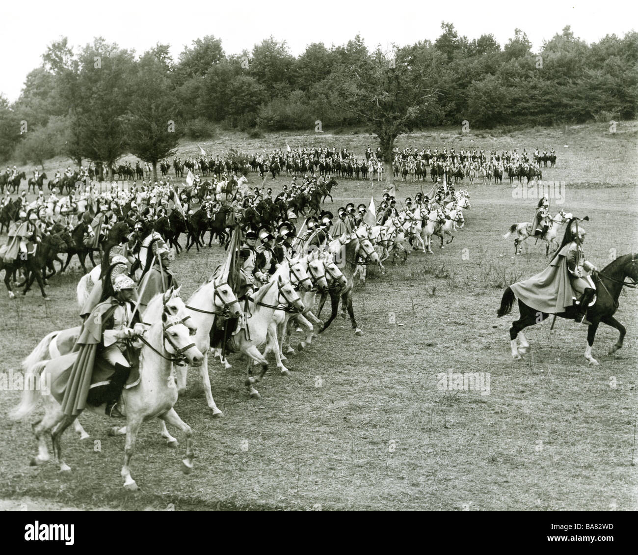 WAR AND PEACE  1956 Carlo Ponti film - French cavalry prepare to charge - Stock Image
