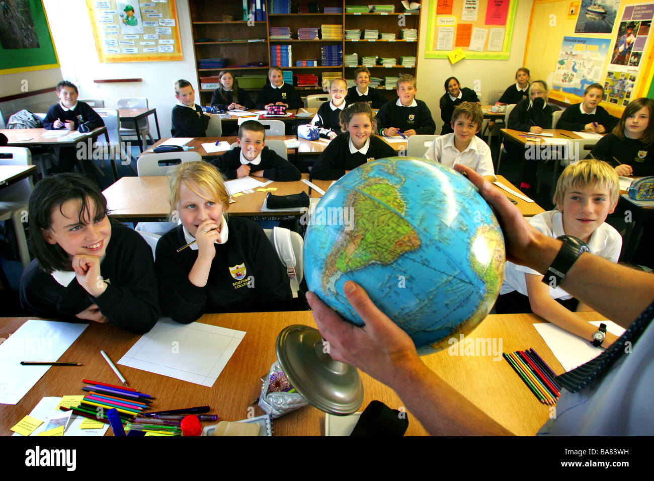 Geography lesson in a school, Devon, UK. *Editorial use only* - Stock Image