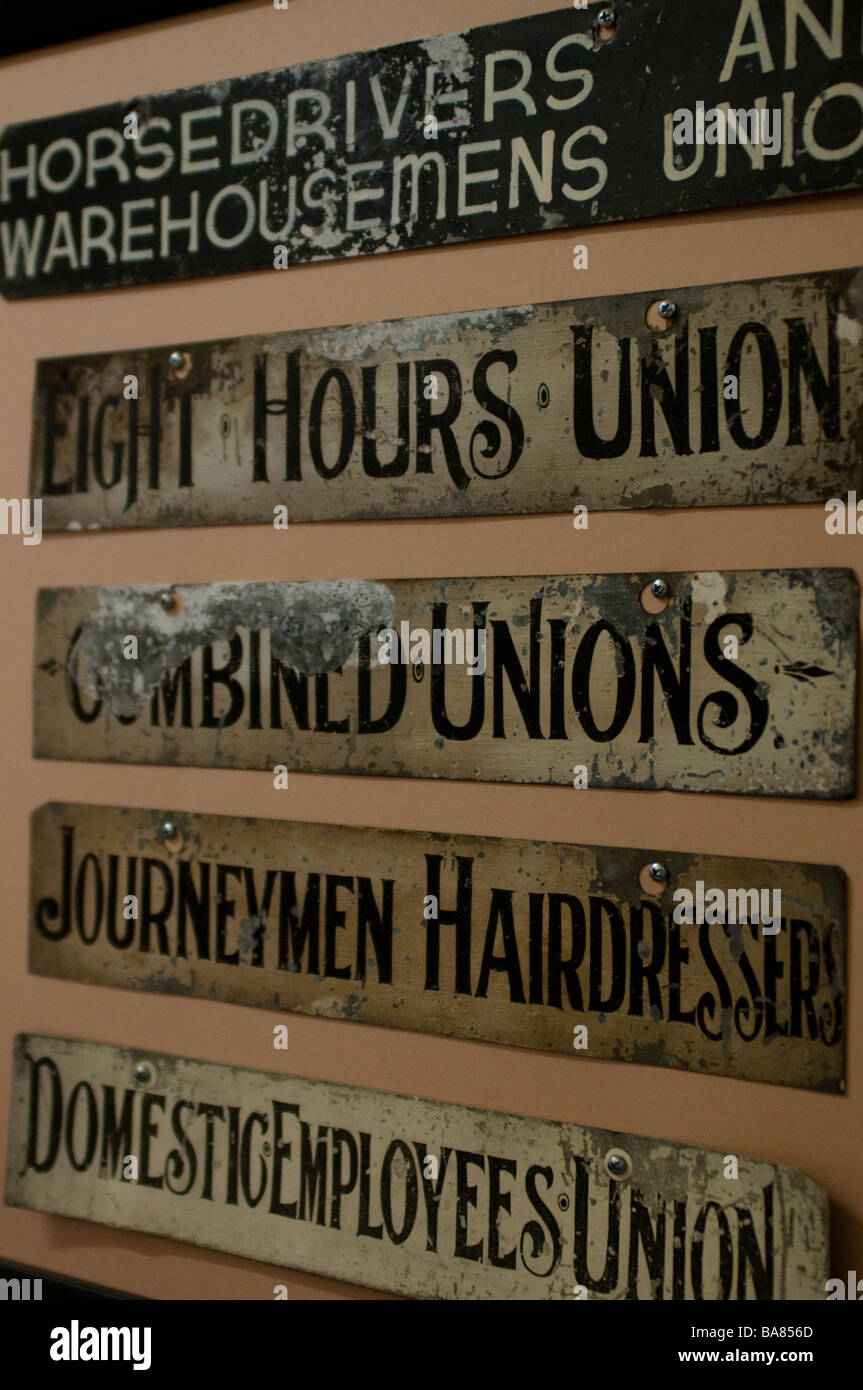 Different trade unions plaques in the Trades Hall Building Broken Hill New South Wales Australia - Stock Image