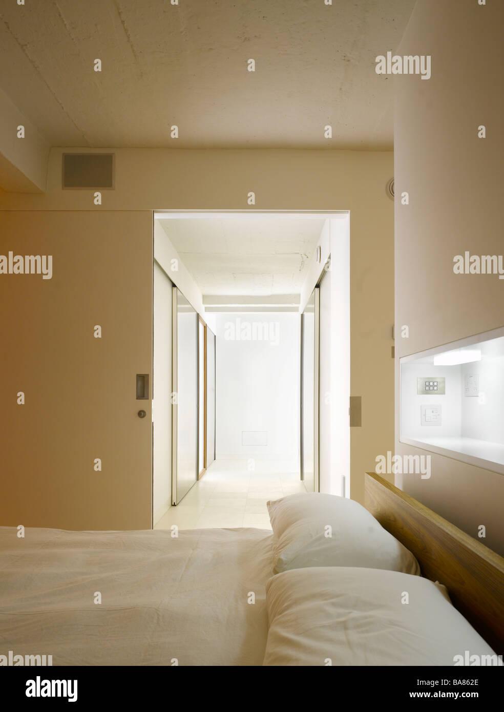 Hallway leading from bedroom in Loft Apartment, Islington, London, UK. - Stock Image