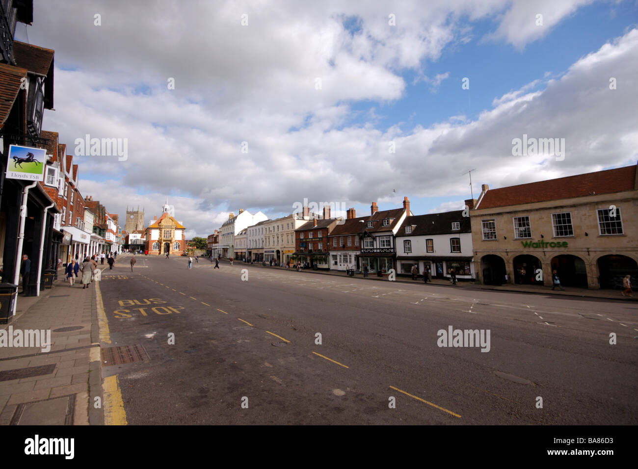 View of empty market place in Marlborough Wiltshire prior to the Autumn Mop fair being installed on 17th October - Stock Image