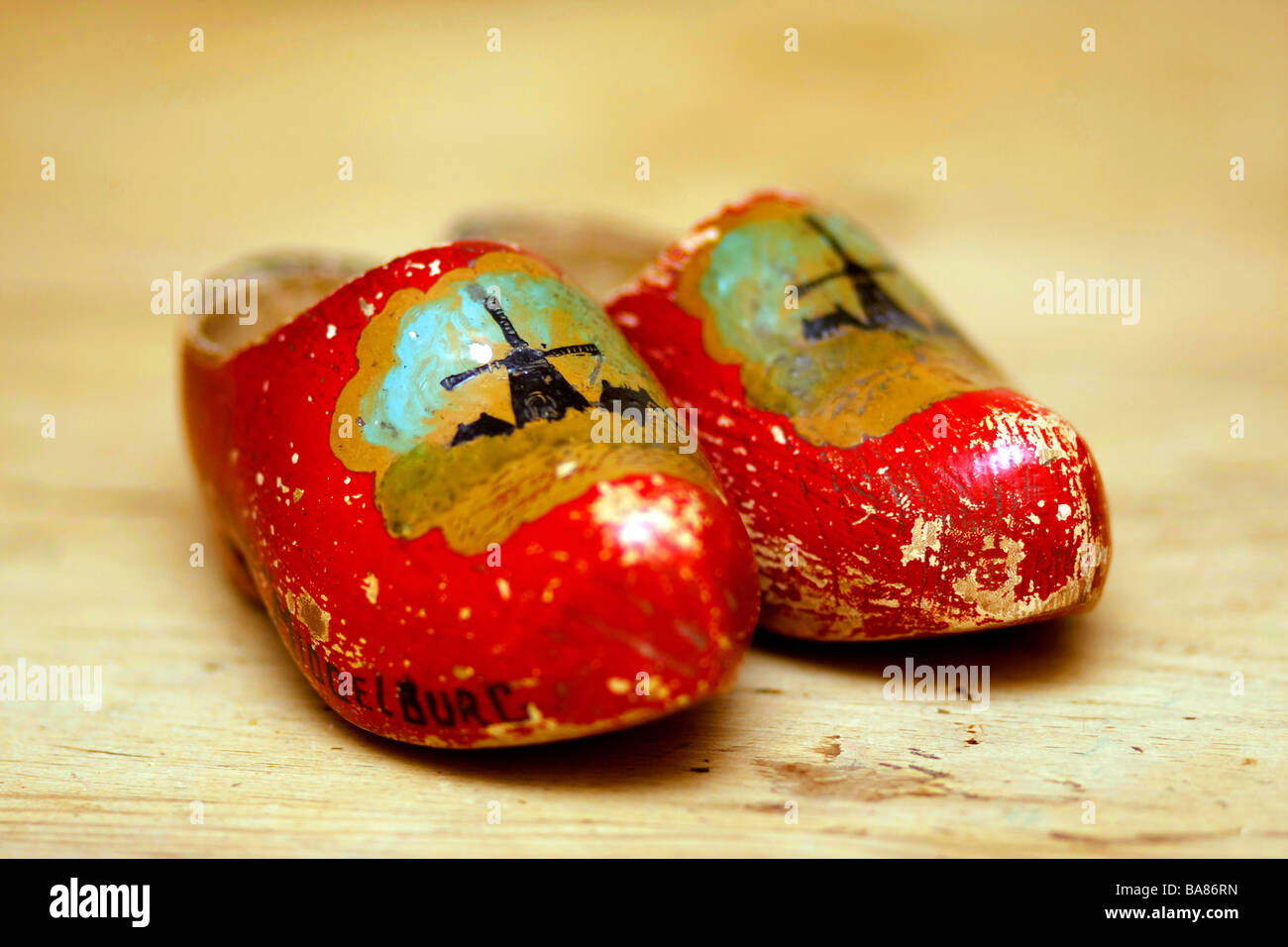 old pair of dutch clogs as a memento - Stock Image
