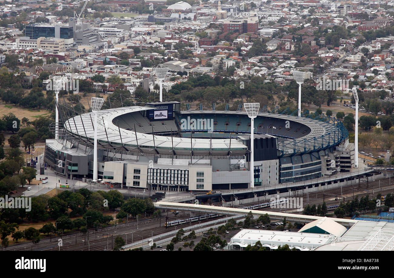 Aerial view of the MCG in Melbourne, Australia. - Stock Image
