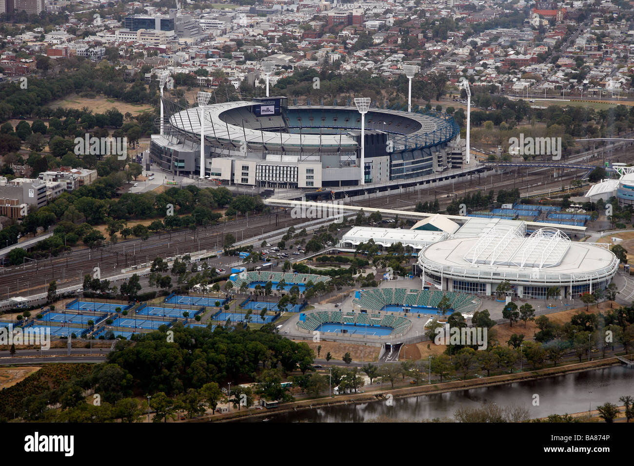 Aerial view of Melbourne Park and the MCG in Melbourne, Australia. - Stock Image