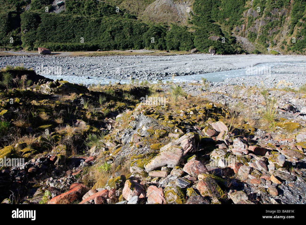 Boulders and rocks in glacial valley Fox river bed, West Coast, New Zealand Stock Photo