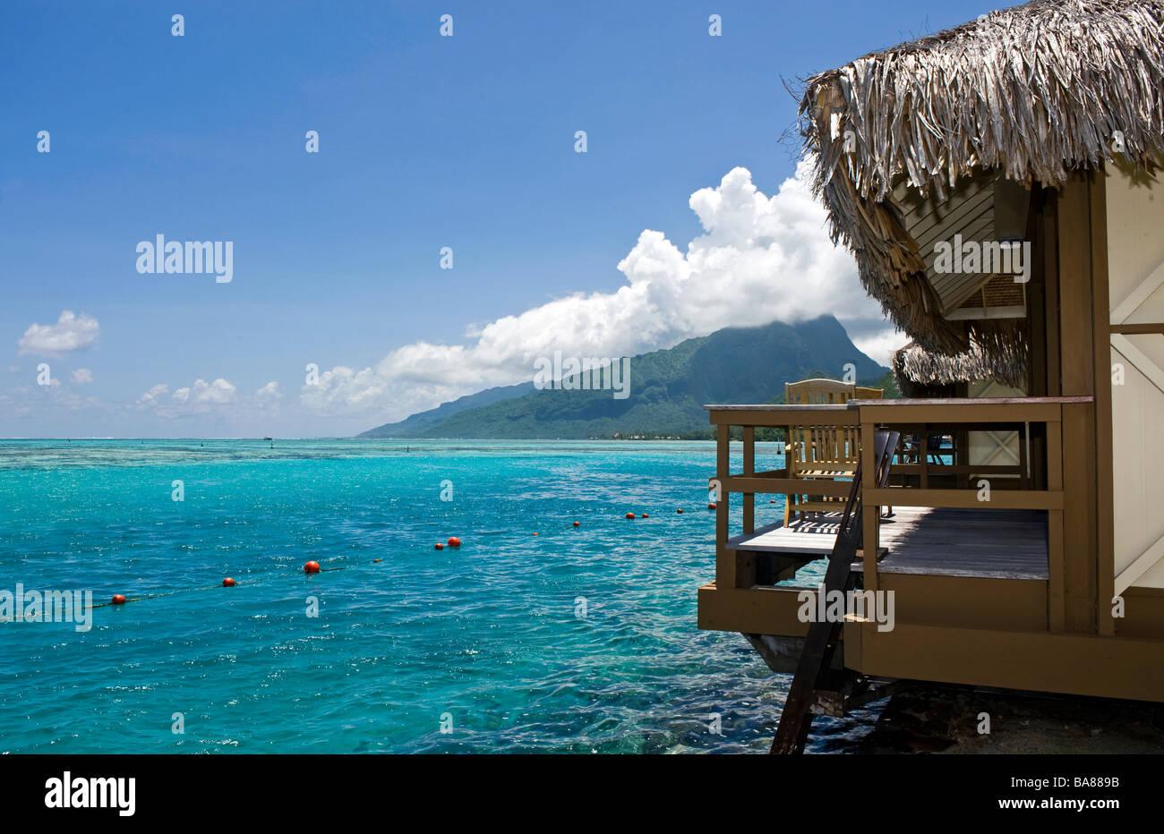 French Polynesia : bungalow on Moorea - Stock Image