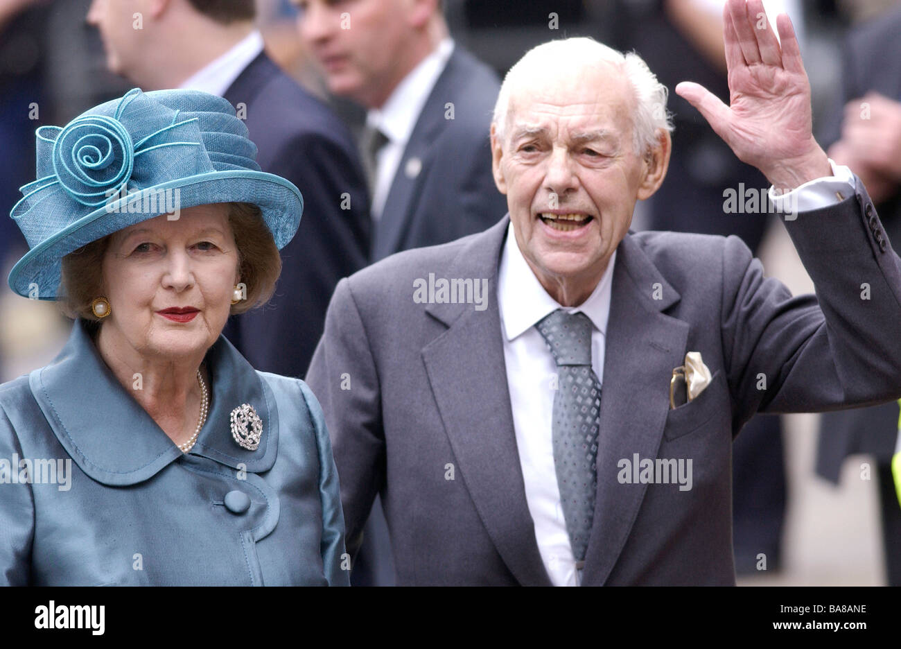 Baroness Margaret Thatcher and her husband Sir Denis Thatcher at Westminster Abbey - Stock Image