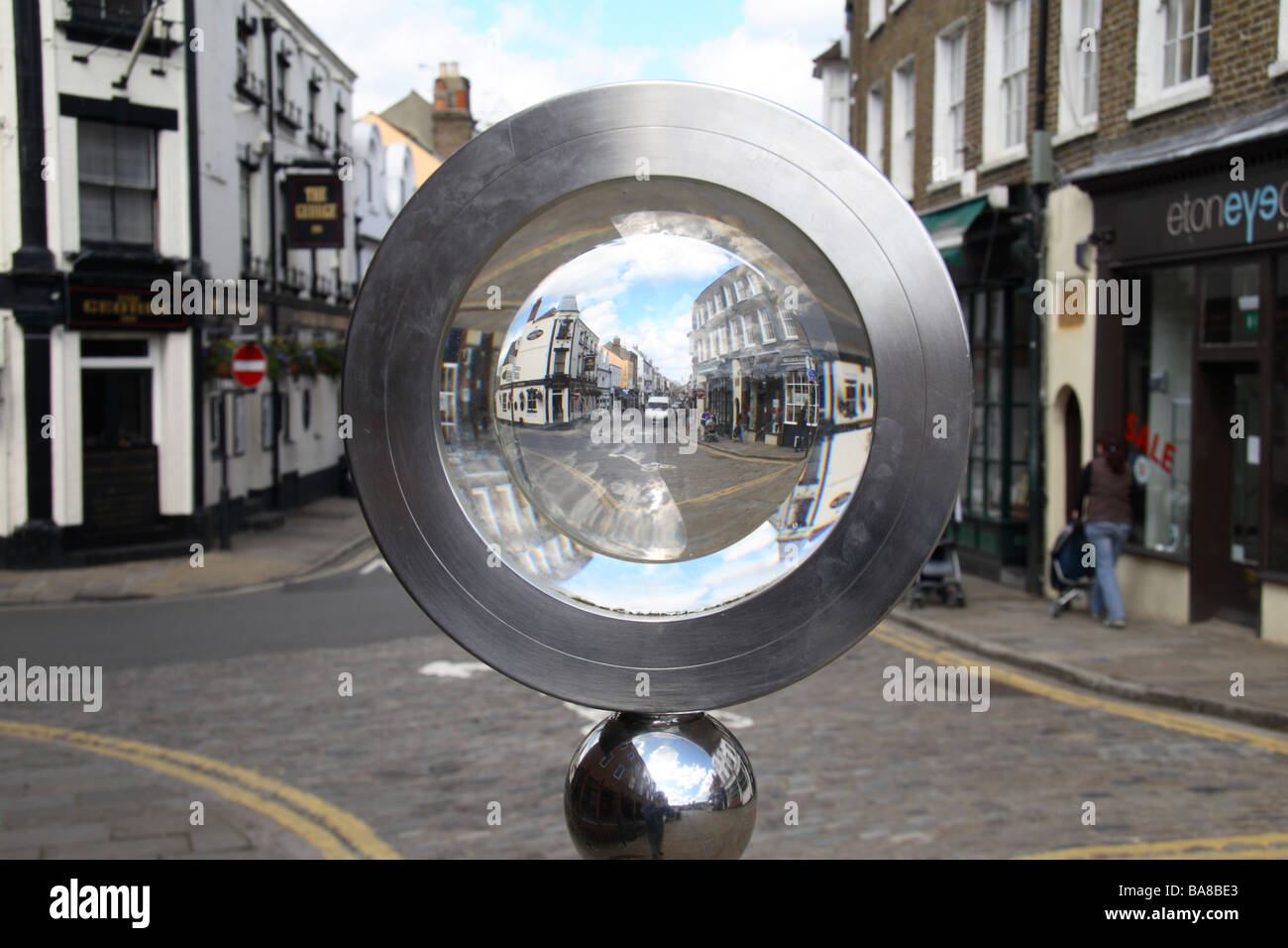 Looking through a 'looking glass' towards High Street, Eton, Berkshire. - Stock Image