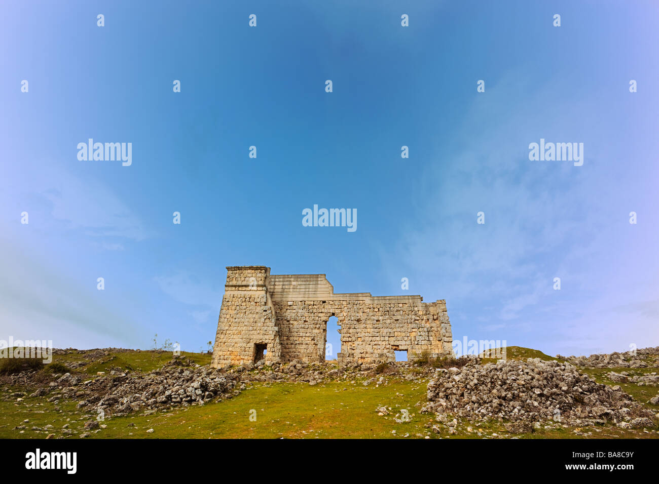Roman Ruins of Acinipo, Malaga Province, Spain.  Ruins of Roman city also known as Ronda La Vieja. The theatre. - Stock Image