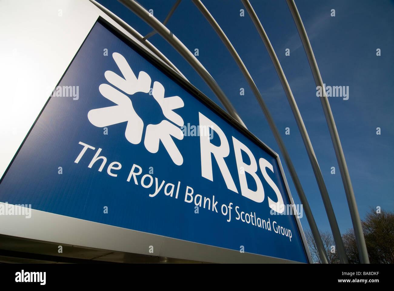 photograph of royal bank of scotland signage - Stock Image