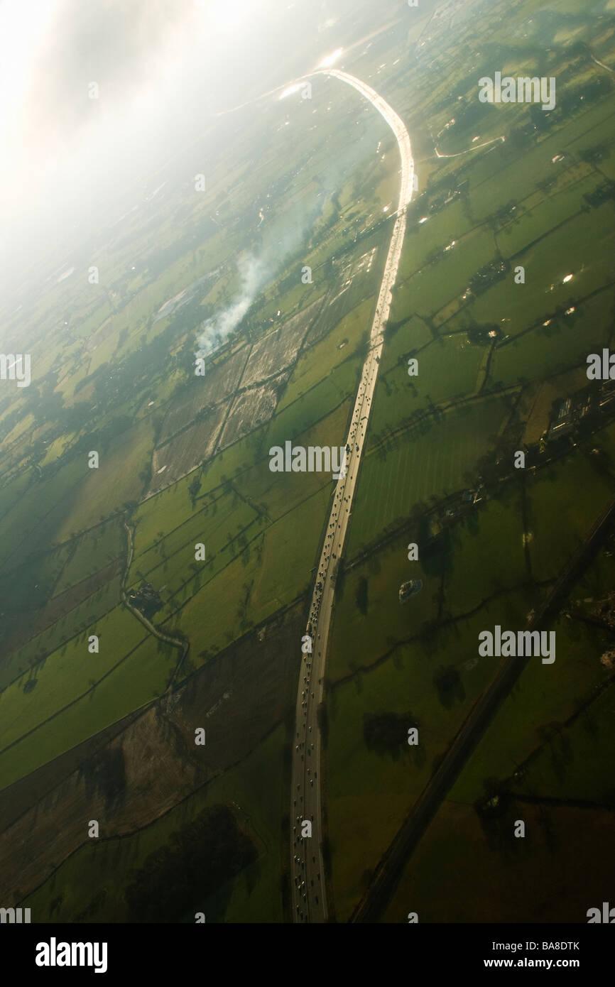 Aerial photograph of motorway near Manchester Lancashire England UK United Kingdom GB Great Britain British Isles - Stock Image