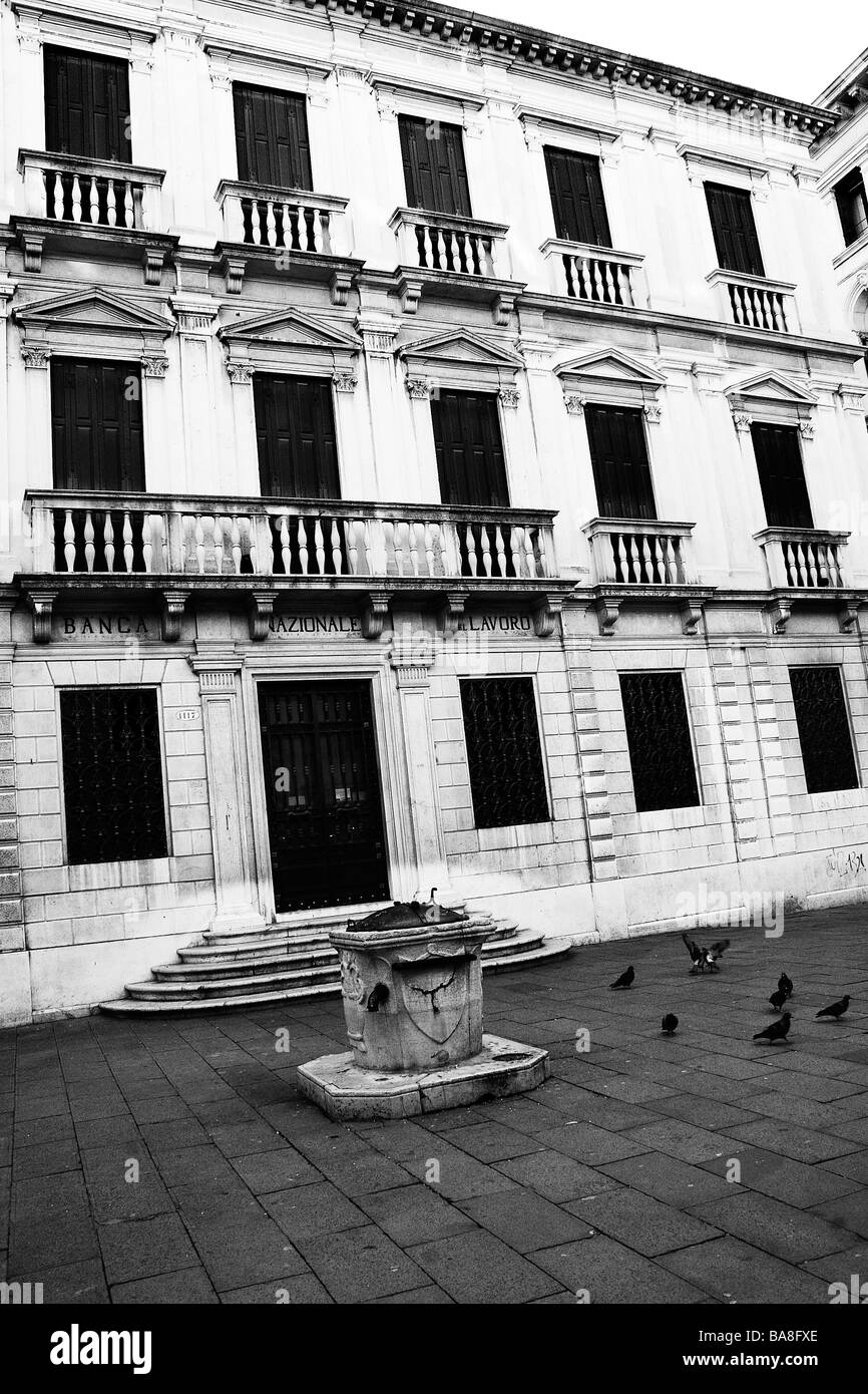 The courtyard of an old Veneitan bank building - Stock Image
