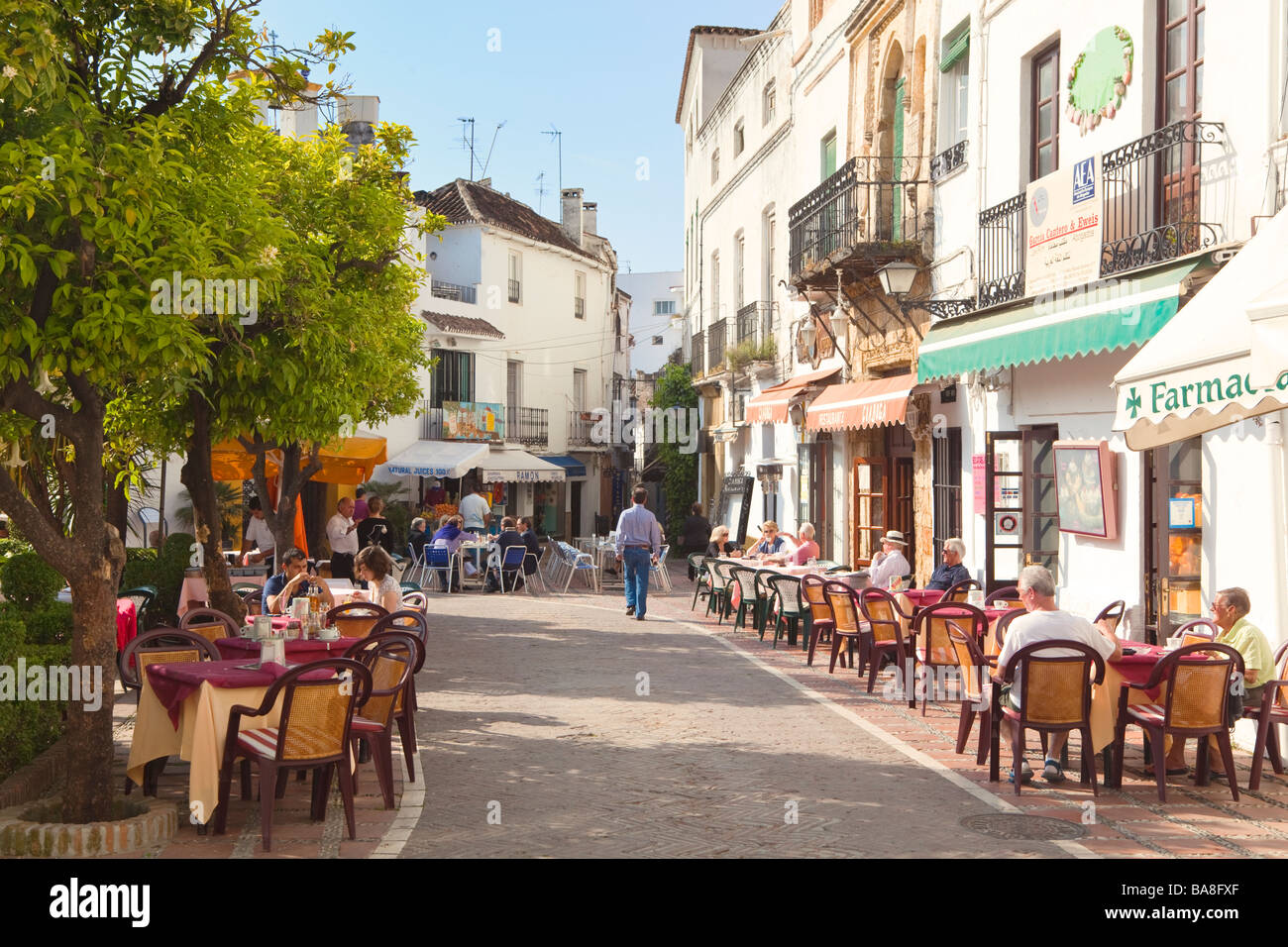 Marbella Malaga Province Costa del Sol Spain Plaza de los Naranjos Orange Square Cafes and restaurants - Stock Image