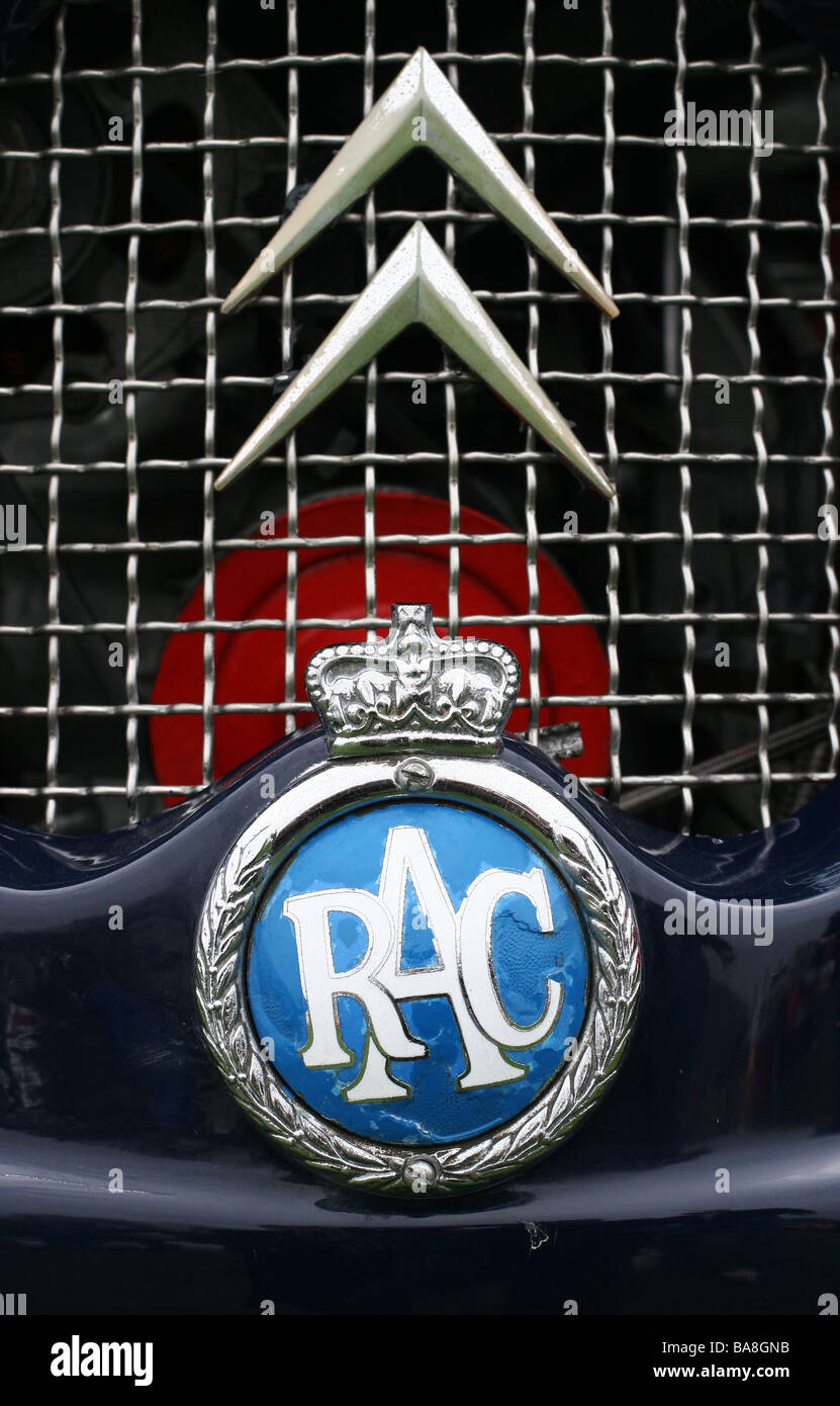 RAC Royal Automobile Club badge / logo on the grill of a classic vintage Citroen - Stock Image